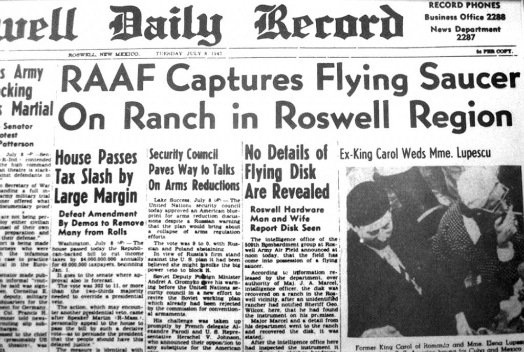 1.7.3 Roswell newspaper headline