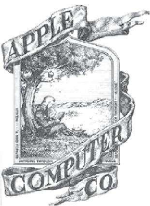 1976年頃のアップル・コンピューターの最初のロゴは、当時の共同創設者ロナルド・ウェインによって提示された。このロゴでは、頭の上に落ちてきたリンゴによって重力を発見した、リンゴの木の下に座っているアイザック・ニュートンが描かれている。その世界最大のコンピュータ会社の名は、アイザック・ニュートンが重力の理論を打ち立てるために役だった、「りんご」に触発されたものである。