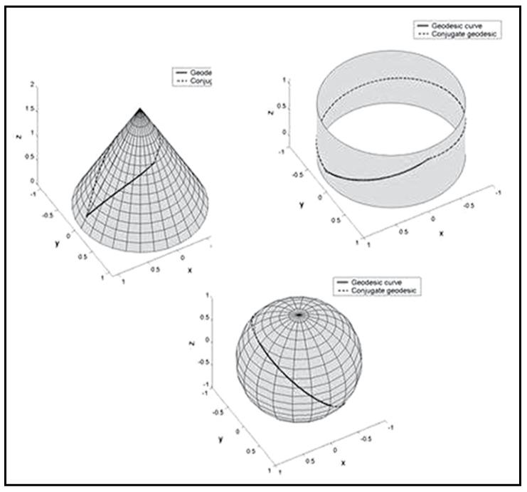 一般相対性理論では、測地線は、湾曲した時空間への「直線」の概念を表している。重要なことは、あらゆる外部の力を受けない粒子のとる線は、測地線の形をとる。言い換えれば、自由に移動する粒子は常に測地線に沿って移動する。一般相対性理論では、重力は力ではなく時空間の幾何学的形状で、例えば、曲率の源が物質を表すストレス・エネルギー・テンソルである。したがって、太陽のような星の周りの軌道を回る地球のような惑星の経路は、その星の周りの湾曲した4次元時空間の幾何学的形状の測地線が、私たちの現実として知られている3次元空間上への投影されたものである。