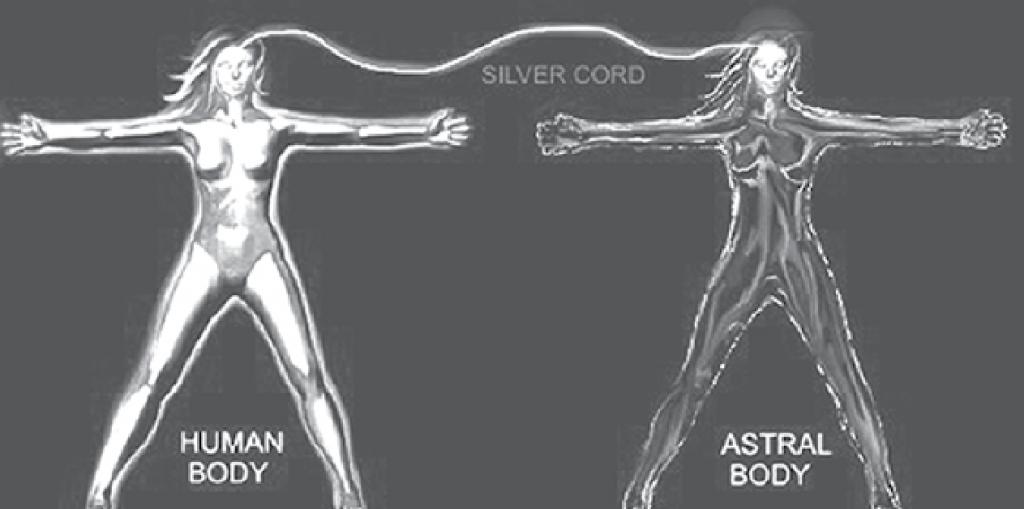 「シルバーコード」は、身体とアストラル体の間を繋ぐ。それがシルバーコードと呼ばれるのは、非常に速く回転し、銀色、灰色、または白っぽい青色の蛍光の輝く光線として知覚される高振動粒子の集合体によって形成されるためである。これは、光で作られた伸縮性のあるケーブルのごとくで、滑らかで、非常に長く、非常に明るいと説明されている。その高振動場は、死の瞬間以外では、無限に延長される。それは、約1インチの幅で、クリスマスツリーのように輝き、身体の可能な場所に取り付けられているようである。この繋がりの存在が、私たちの「精神的な食物」つまり私たちのアイデアや発見の伝達手段となるため、神秘的な謎に見られる。(with permission, (c) Brad Olsen, 2016)